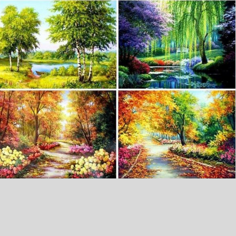 Image of TREE WITH STREAM LANDSCAPE Diamond Painting Kit - DAZZLE CRAFTER