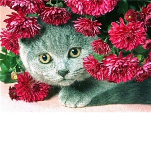 Image of PINK FLOWERS CAT Diamond Painting Kit - DAZZLE CRAFTER