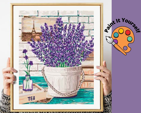 Image of LAVENDER FLOWERS IN GARDEN BUCKET - DIY Adult Paint By Number Kit