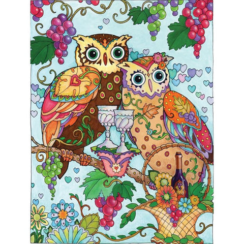 Image of OWLS WITH WINE Diamond Painting Kit - DAZZLE CRAFTER