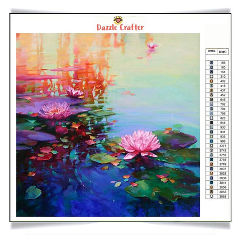 Image of PINK LOTUS GLORY Diamond Painting Kit - DAZZLE CRAFTER