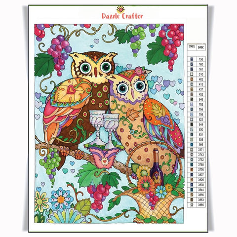 OWLS WITH WINE Diamond Painting Kit - DAZZLE CRAFTER