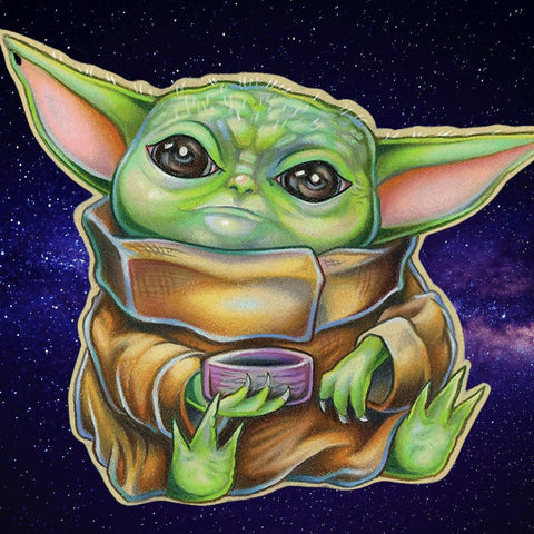 Image of SITTING BABY YODA  Diamond Painting Kit