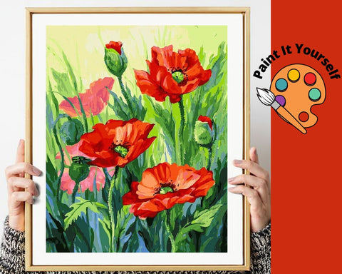 Image of RED POPPIES IN THE COUNTRYSIDE - DIY Adult Paint By Number Kit