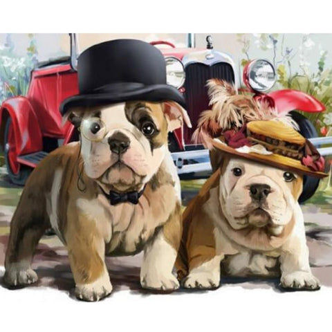 Image of CUTE DOGS WITH HATS Diamond Painting Kit