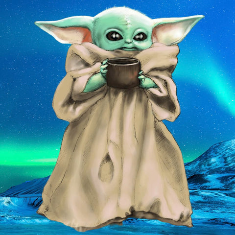 Image of EMERALD SKY  BABY YODA  Diamond Painting Kit