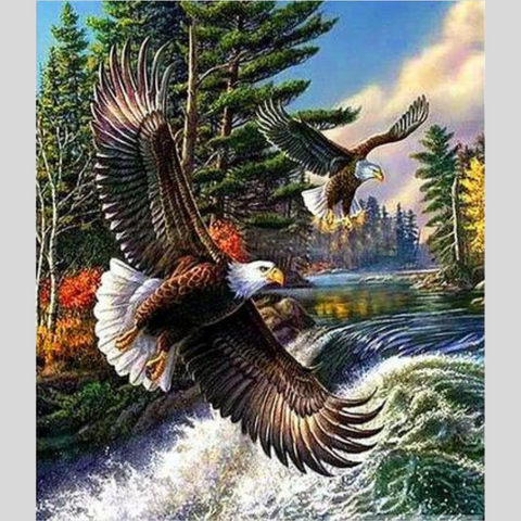 Image of TWIN EAGLES Diamond Painting Kit - DAZZLE CRAFTER