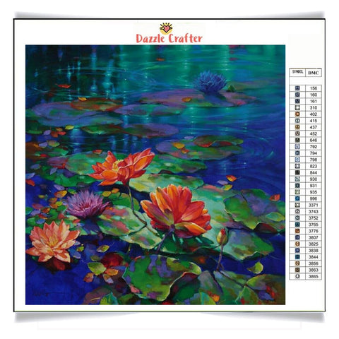 Image of LOTUS IN THE LAKE Diamond Painting Kit - DAZZLE CRAFTER