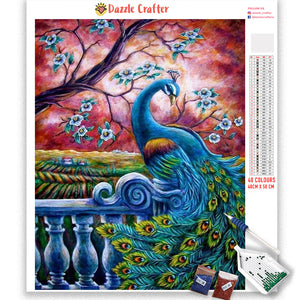 BEAUTIFUL PEACOCK UNDER RED SKY  Diamond Painting Kit