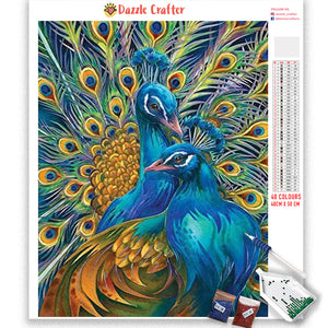 PRETTY TWIN PEACOCKS  Diamond Painting Kit