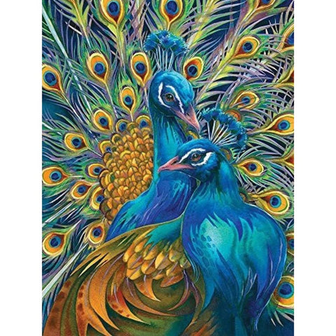Image of PRETTY TWIN PEACOCKS  Diamond Painting Kit