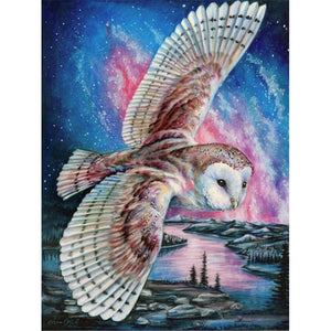 FLYING OWL PINK NIGHT SKY Diamond Painting Kit