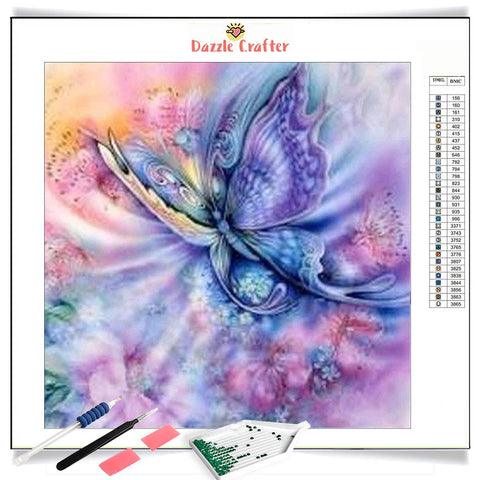 DAZZLING LILAC BUTTERFLY Diamond Painting Kit