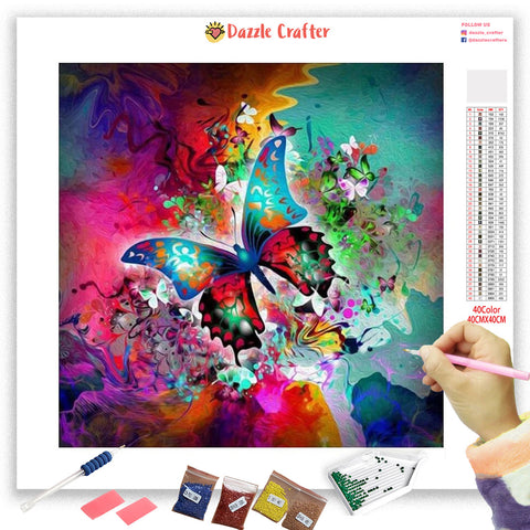 ABSTRACT SPARKLE BUTTERFLY Diamond Painting Kit