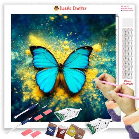 ACQUA GREEN BUTTERFLY Diamond Painting Kit