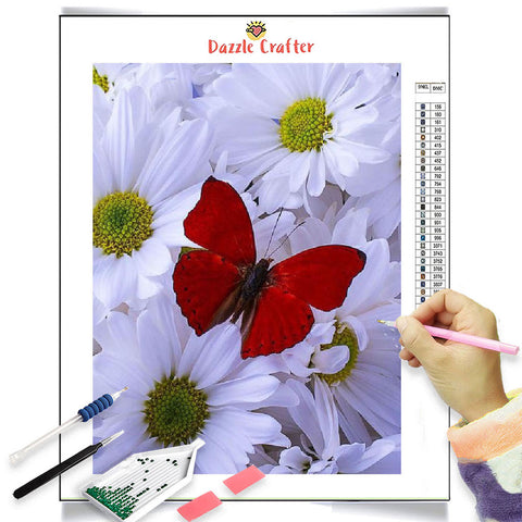 RED BUTTERFLY ON WHITE DAISIES Diamond Painting Kit