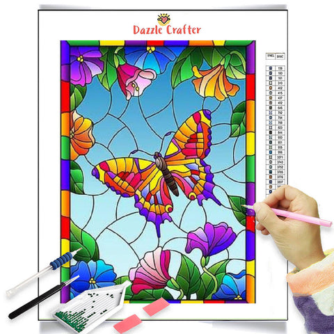 STAINED GLASS  BUTTERFLY  Diamond Painting Kit