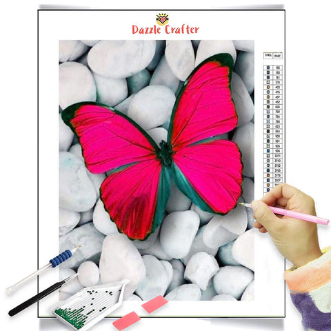 Image of RED BUTTERFLY ON WHITE PEBBLES Diamond Painting Kit