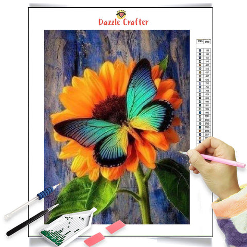 JEWEL GREEN BUTTERFLY  Diamond Painting Kit