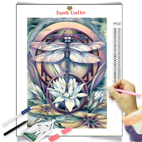 Image of ABSTRACT FLOWER DRAGONFLY Diamond Painting Kit
