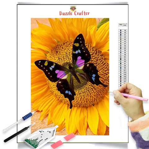 BLACK BUTTERFLY ON SUNFLOWER  Diamond Painting Kit
