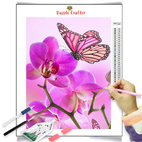 Image of ORCHIDS AND PINK BUTTERFLY Diamond Painting Kit