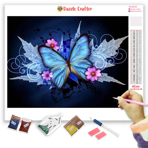 Image of BLUE BUTTERFLY WITH PINK FLOWERS Diamond Painting Kit