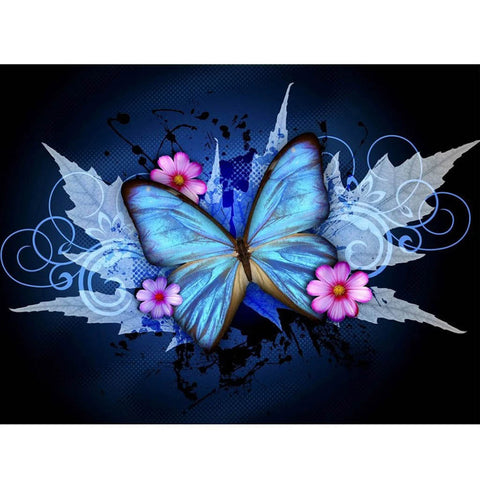 BLUE BUTTERFLY WITH PINK FLOWERS Diamond Painting Kit