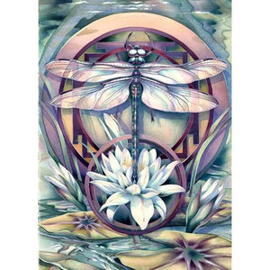 ABSTRACT FLOWER DRAGONFLY Diamond Painting Kit