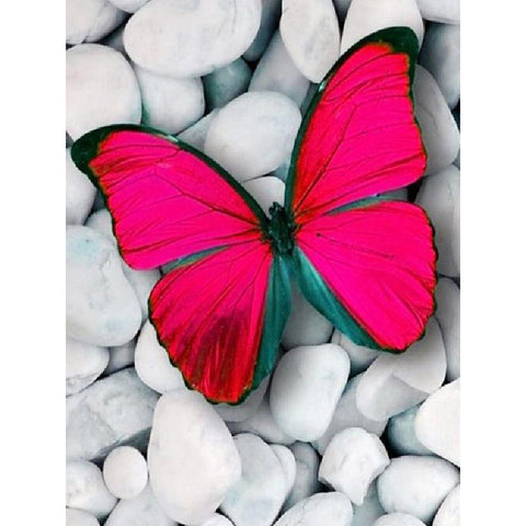 RED BUTTERFLY ON WHITE PEBBLES Diamond Painting Kit
