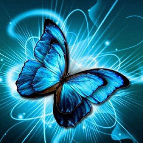 Image of NEON BLUE BUTTERFLY Diamond Painting Kit