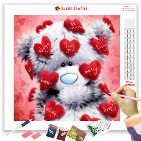 Image of WHITE TEDDY LOVE Diamond Painting Kit
