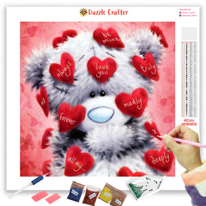 WHITE TEDDY LOVE Diamond Painting Kit