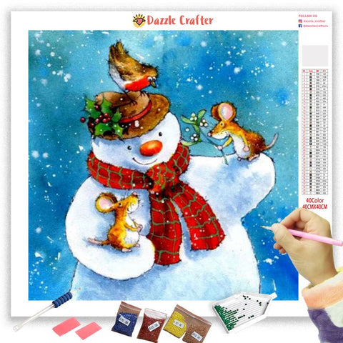 Image of MY LITTLE FRIENDS SNOWMAN Diamond Painting Kit