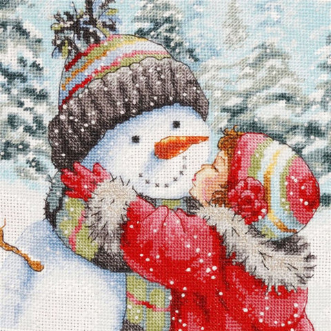 Image of SNOWMAN LOVE HUG  Diamond Painting Kit