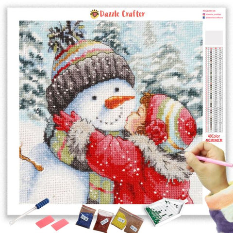 SNOWMAN LOVE HUG  Diamond Painting Kit