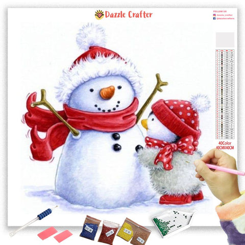 Image of SNOWMAN WITH BABY CHICK Diamond Painting Kit