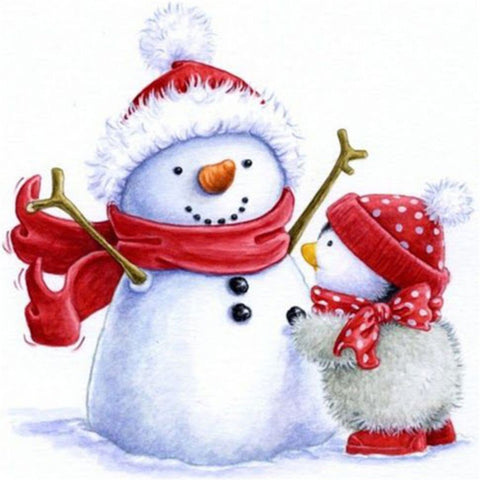 SNOWMAN WITH BABY CHICK Diamond Painting Kit