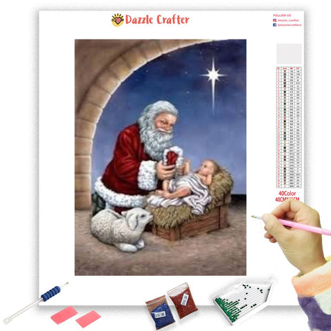 Image of BABY JESUS LEADING STAR Diamond Painting Kit