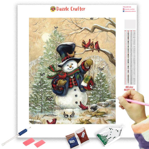 Image of SNOWMAN AND CHIRPING BIRDS Diamond Painting Kit