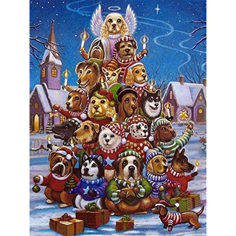 Image of BOW WOW CHRISTMAS Diamond Painting Kit