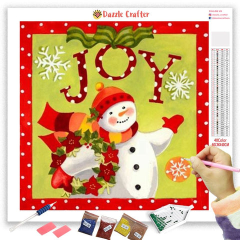 Image of JOY TO ALL  SNOWMAN Diamond Painting Kit