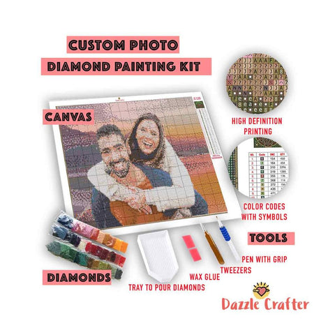 CUSTOM PHOTO WITH FLOWER FRAME - MAKE YOUR OWN DIAMOND PAINTING