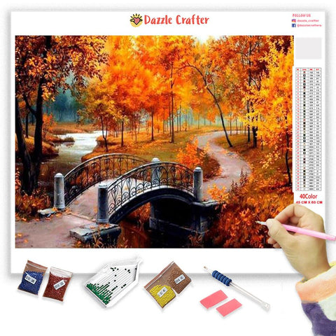 CROSSING THE BRIDGE IN AUTUMN SERIES Diamond Painting Kit