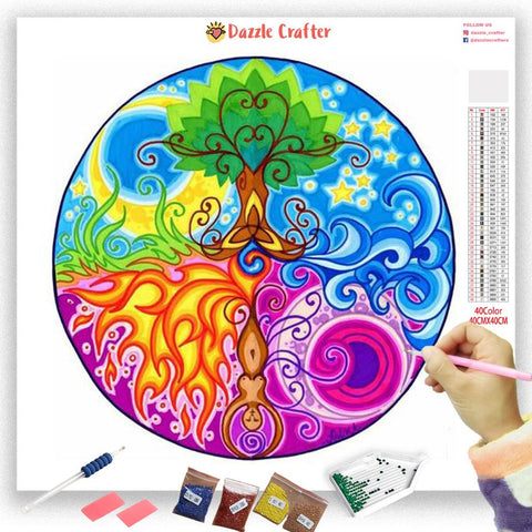 COLORFUL TREE MANDALA Diamond Painting Kit