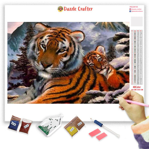 Image of TIGER AND CUB  Diamond Painting Kit