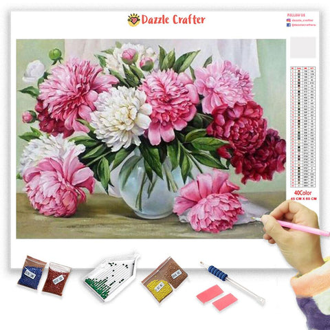 Image of PINK & WHITE FLOWERS IN VASE Diamond Painting Kit