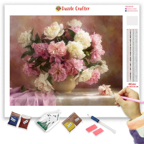 Image of PINK PEONY Diamond Painting Kit - DAZZLE CRAFTER