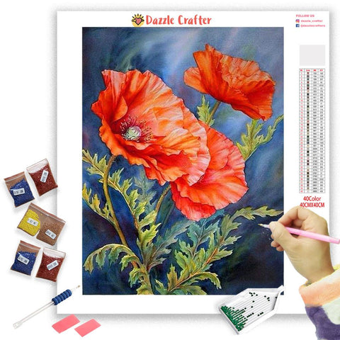 Image of RED FLOWERS SERIES Diamond Painting Kit - DAZZLE CRAFTER
