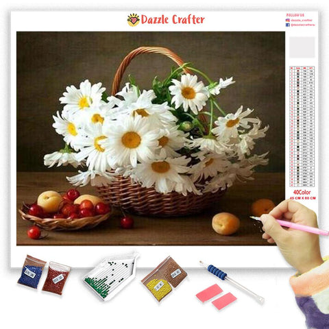 Image of WHITE DAISIES Diamond Painting Kit
